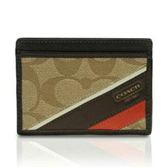 COACH教練遺產條紋人卡片匣/名片夾黄褐色/紅木74223 KH/MA名牌