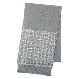 湯米希爾菲格張宇人湯米希爾菲格圍巾銀 + 白系列灰色系列 logo 邊框灰色羊毛混織的圍巾 TH 徽標邊境男式女式中性的男女皆宜的新的品牌新定期時尚圍巾生日聖誕禮物