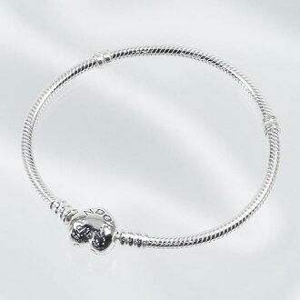 潘朵拉潘朵拉手鏈配件手鐲女士銀心時刻手鐲心珠寶 590719-18