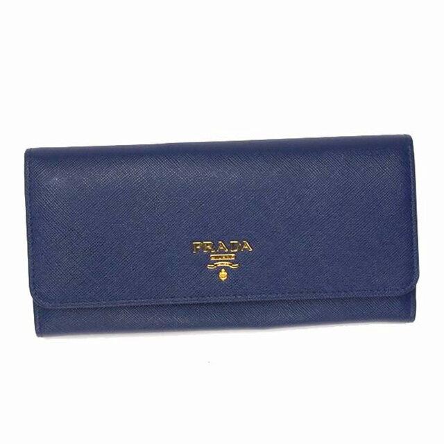 プラダ PRADA 長財布 1MH132 QWA F0016 財布 サフィアーノ SAFFIANO レザー ブルー BLUETTE+ゴールド