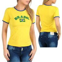 SANNA'Sブラジル半袖Tシャツ・イエロー/黄色日本製◆翌日配達【あす楽_土曜営業】