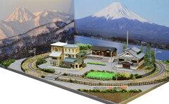「送料込み」鉄道模型ジオラマレイアウトBトレ、鉄コレ用 単線[60cm×45cm]駅前の風景 …