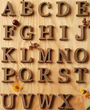 切り文字 ウッデンレター スタンド 木製アルファベット(A〜N) ブラウン (メール便対応可)