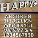 国産ヒノキ使用  木製 アルファベット&ナンバー 星 ホワイト スタン...