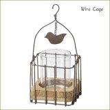 ワイヤーホルダー◆小鳥小瓶花瓶◆WireCagew/glass