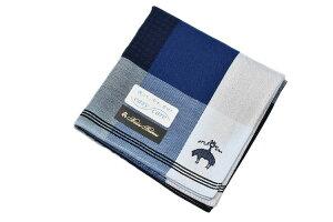 ブルックス ブラザーズ ハンカチ 1枚 メンズ ブランド BROOKS BROTHERS ネイビー 紺 ブルー 青 × ホワイト 白 ブロック チェック ライン 男性 紳士 父の日 【あす楽】