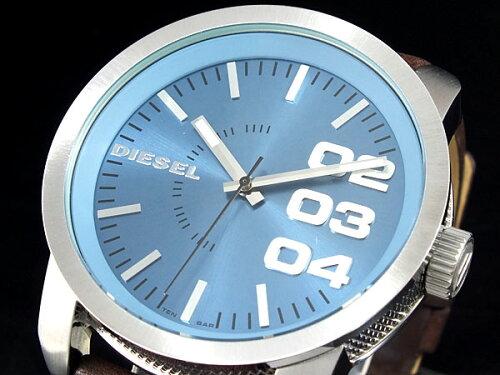 DIESEL ディーゼル ビッグフェイス ブラウンレザー ブルー文字盤 メンズ 腕時計 DZ15...