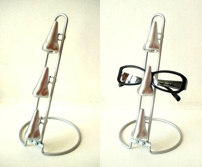 ユニークな眼鏡置き★DULTON'S(ダルトン)鼻メガネスタンド 3連 シルバー