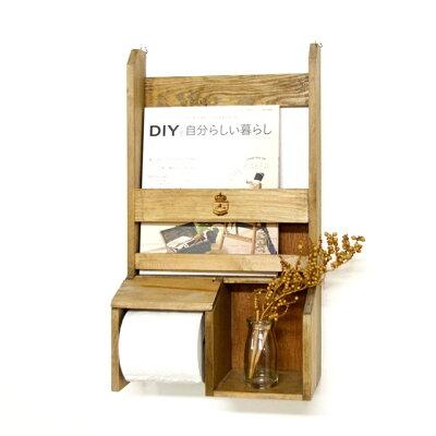 ナチュラルカントリー♪木製壁掛けトイレットペーパーホルダーラック 飾り棚ディスプレイアンティー…