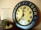 アンティークテイストカフェクロックネイビーホーロフランスのカフェにありそうな時計フレンチ