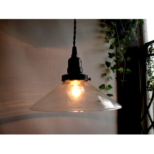★ Showa Retro Transparent Glass Pendant Lamp E26 23cm diameter with on / off switch 85 Antique ceiling lighting Indirect lighting LED bulbs can be used.
