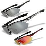 レンズ5枚 ゴーグルモード 偏光 スポーツサングラス フレーム3色 度付加工可 RG