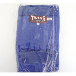 新 TWINS ツインズ 合皮製 キックボクシング レガース スネサポーター 青 Lサイズ