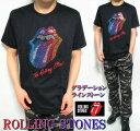 ローリングストーンズ Tシャツ メンズ/レディース 虹色 グラデーション ラインストーン/スタッズ 半袖 ROLLING STONES ロック メンズファッション トップス ミュージック カットソー