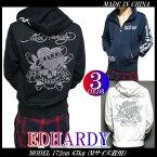 EDHARDYエドハーディーパーカーメンズスカルスタッズ/ラインストーン3カラーメンズファッショントップスパーカジップアップ