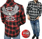 ネルシャツメンズチェック刺繍/イーグル長袖シャツワークシャツメンズファッショントップスカジュアルシャツ大きいサイズ/ビッグサイズ