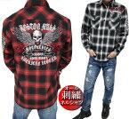 ネルシャツメンズチェック刺繍/スカル/ドクロ長袖シャツワークシャツメンズファッショントップスカジュアルシャツ大きいサイズ/ビッグサイズ