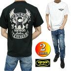 VANSONバンソンTシャツメンズ半袖ヴァンソン正規ライセンスブラック/ホワイトS-XL