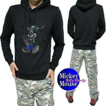 パーカー メンズ ミッキーマウス/ディズニー ラインストーン スケボー プルオーバー 薄手 メンズファッション