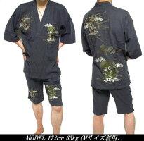 甚平メンズおしゃれ風神雷神じんべいジンベイメンズファッション和服和装作務衣
