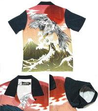 和柄刺繍アロハシャツイーグル刺繍メンズジャガード生地不倶戴天祭りメンズファッショントップスカジュアルシャツ