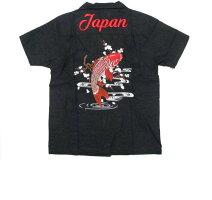 和柄刺繍スカシャツ昇り鯉オール刺繍メンズ祭りメンズファッショントップスカジュアルシャツ