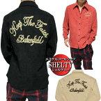 シャツメンズエステルコールチェーン刺繍長袖シャツシェルティー/SHELTYメンズファッショントップスカジュアルシャツ