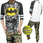 TシャツロンTメンズバットマン/BATMANアメコミ7分袖メンズファッショントップスカットソーブラック