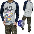 アラレちゃんTシャツロンTメンズラグラン長袖グレイ/ネイビーサイズS-XL