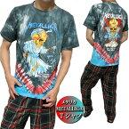 Tシャツメンズ半袖METALLICAメタリカドレス/スカルタイダイメンズファッショントップスTシャツカットソー