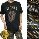 ローリングストーンズ Tシャツ メンズ/レディース ゴールド/ストライプ ラインストーン/スタッズ 半袖 ROLLING STONES ロック メンズファッション トップス ミュージック カットソー