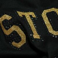 ローリングストーンズTシャツメンズ/レディースゴールド/ラインストライプラインストーン/スタッズ半袖ROLLINGSTONESロックメンズファッショントップスミュージックカットソー
