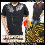 Tシャツメンズスタッズ/ラインストーンヘッドフォンおもしろtシャツ半袖ビッグサイズ大きいサイズメンズファッショントップスカットソー【あす楽】【ラッピング無料】【送料無料】【返品送料無料】