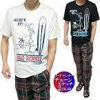 Tシャツメンズルーニーテューンズ/ロードランナー刺繍/プリントサーフボード半袖キャラクターLooneyTunes