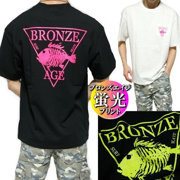 BRONZEAGE/ブロンズエイジTシャツメンズ半袖ポケット蛍光/プリントワイドサイズ/ビッグサイズ正規ライセンスカットソーブラ