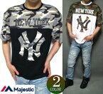 ヤンキースTシャツメンズフットボールマジェスティック/majestic迷彩/カモフラオーバーサイズ半袖ニューヨーク