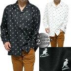 カンゴール/KANGOLオープンシャツメンズ/レディースビッグシルエット長袖かわいいロゴブラック/ホワイトフリーサイズ