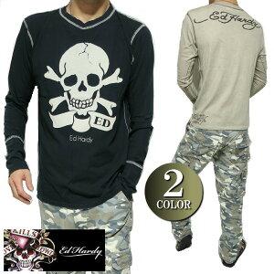 エドハーディー ed hardy エド・ハーディー Tシャツ ロンT メンズ フロント/ビッグ/スカル/ドクロ/長袖 ビンテージ/ブラック/ベージュ S-L