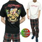 エドハーディーedhardyTシャツメンズ星条旗/アメリカンスカル/ドクロ/ラブキル半袖ブラック/ホワイトサイズM-XL