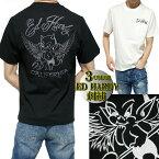 エドハーディーedhardyTシャツメンズデビル/小悪魔刺繍半袖ブラック/ホワイトサイズM-XL
