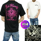 エドハーディーedhardyTシャツメンズスカル/ラブキル刺繍ポケット半袖ブラック/ホワイトサイズM-XL
