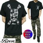 oenロエンメンズTシャツ半袖スカル/ドクロペイズリーPPAISLEYBACKSKULLブラックS-XLROA-008