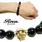 RoenBLACK/ロエンブラックブレスレットスカル数珠ブレスレッドクリスタル/カット玉RO-274ジュエリーアクセサリーメンズ