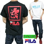 FILA/フィラエヴァンゲリオンTシャツ豹柄メンズ/レディースユニセックス切り替えブラックレッドS-XL
