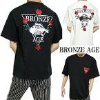 BRONZEAGE/ブロンズエイジTシャツメンズオール/刺繍半袖ワイドサイズ/ビッグサイズブラック/ホワイトM-XL