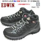 エドウィンEDWINメンズ防水防寒ウインターブーツEDM674ミッドカットスニーカータウンユース通学ブラック