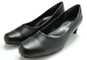 パンプス95580レディース婦人太ヒール4.5cmヒールブラック25.5cm26cm26.5cm27cm靴