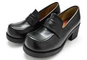 ヒールアップ ローファー 85 レディース シューズ 婦人 靴 女性 スクール 通学 厚底 ブラック 黒