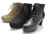 ショートブーツ8552レディース婦人袴ブーツ編み上げ8cmヒールブラックスエードブラックスムースオークスエード靴