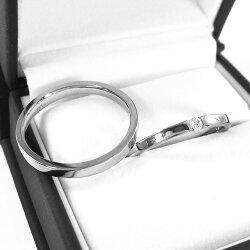天然ダイヤモンドレディスメンズリング平打ちのリング一粒石プラチナ9004月誕生石【_包装】【送料無料】